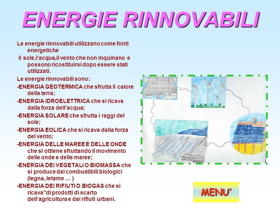 ENERGIE RINNOVABILI MENU'