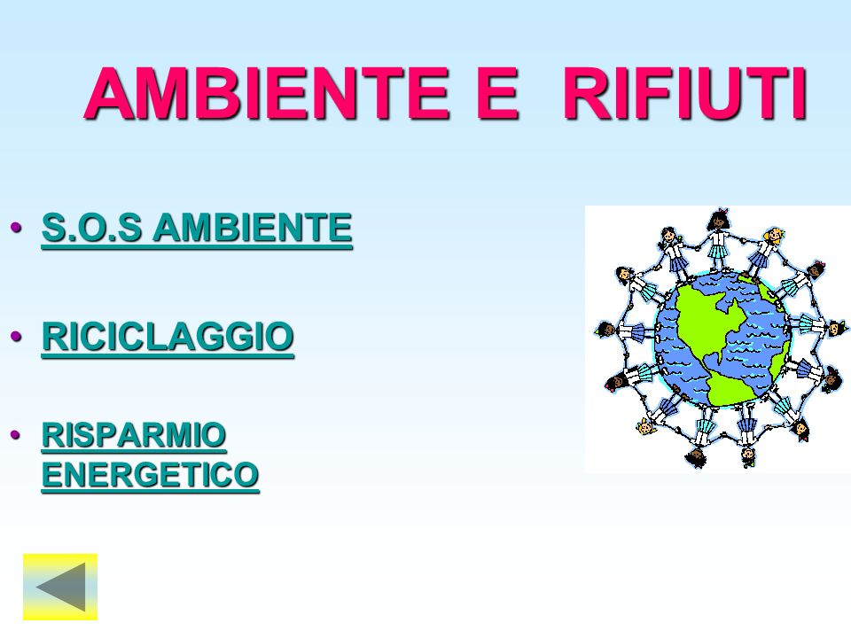 AMBIENTE E RIFIUTI S.O.S AMBIENTE RICICLAGGIO RISPARMIO ENERGETICO
