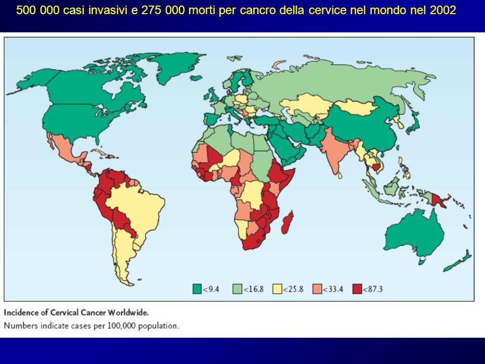500 000 casi invasivi e 275 000 morti per cancro della cervice nel mondo nel 2002