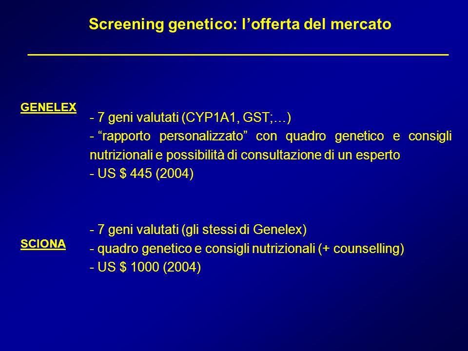 Screening genetico: l'offerta del mercato
