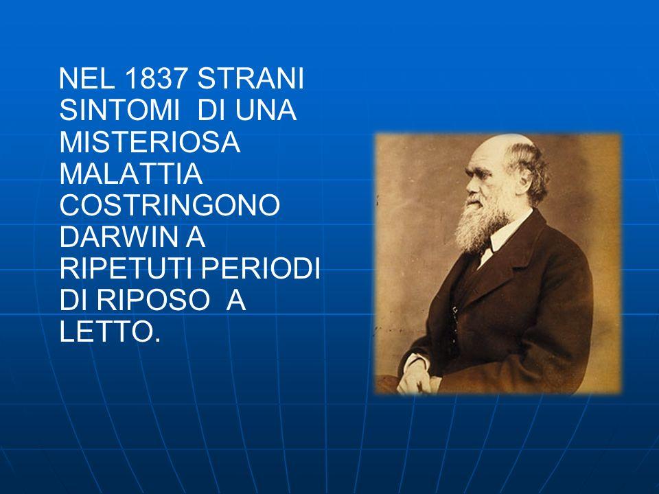 NEL 1837 STRANI SINTOMI DI UNA MISTERIOSA MALATTIA COSTRINGONO DARWIN A RIPETUTI PERIODI DI RIPOSO A LETTO.