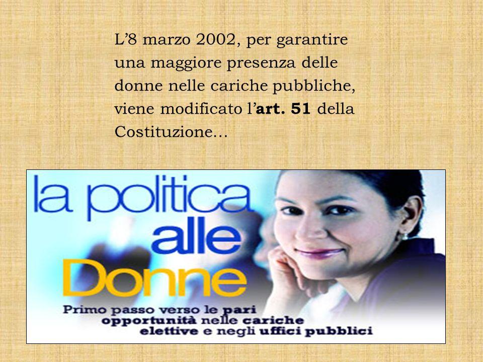 L'8 marzo 2002, per garantire una maggiore presenza delle donne nelle cariche pubbliche, viene modificato l'art.