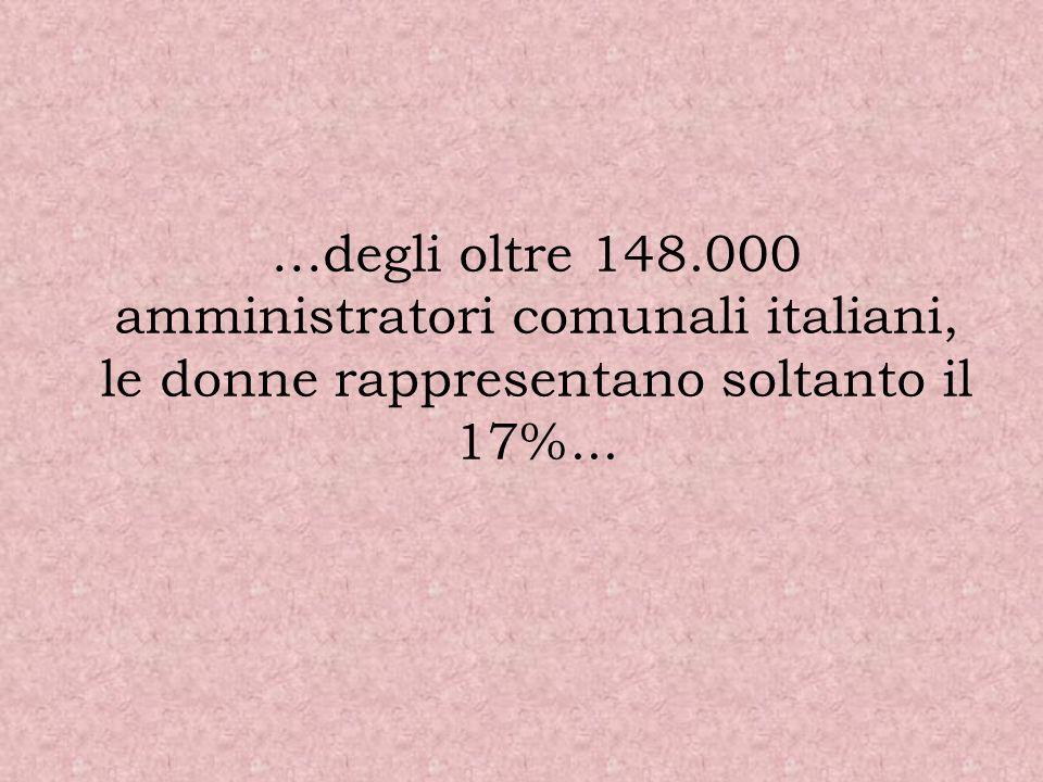 …degli oltre 148.000 amministratori comunali italiani, le donne rappresentano soltanto il 17%...
