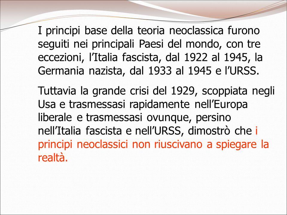 I principi base della teoria neoclassica furono seguiti nei principali Paesi del mondo, con tre eccezioni, l'Italia fascista, dal 1922 al 1945, la Germania nazista, dal 1933 al 1945 e l'URSS.