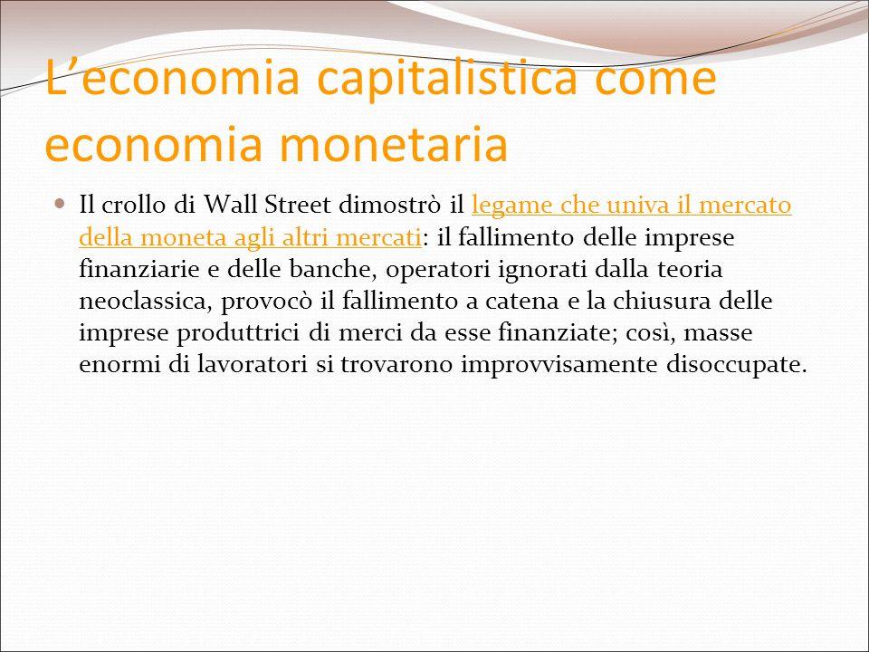 L'economia capitalistica come economia monetaria