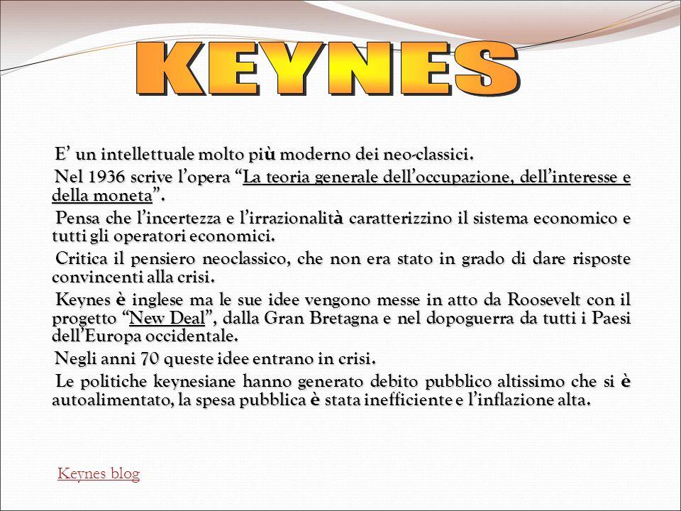 KEYNES E' un intellettuale molto più moderno dei neo-classici.