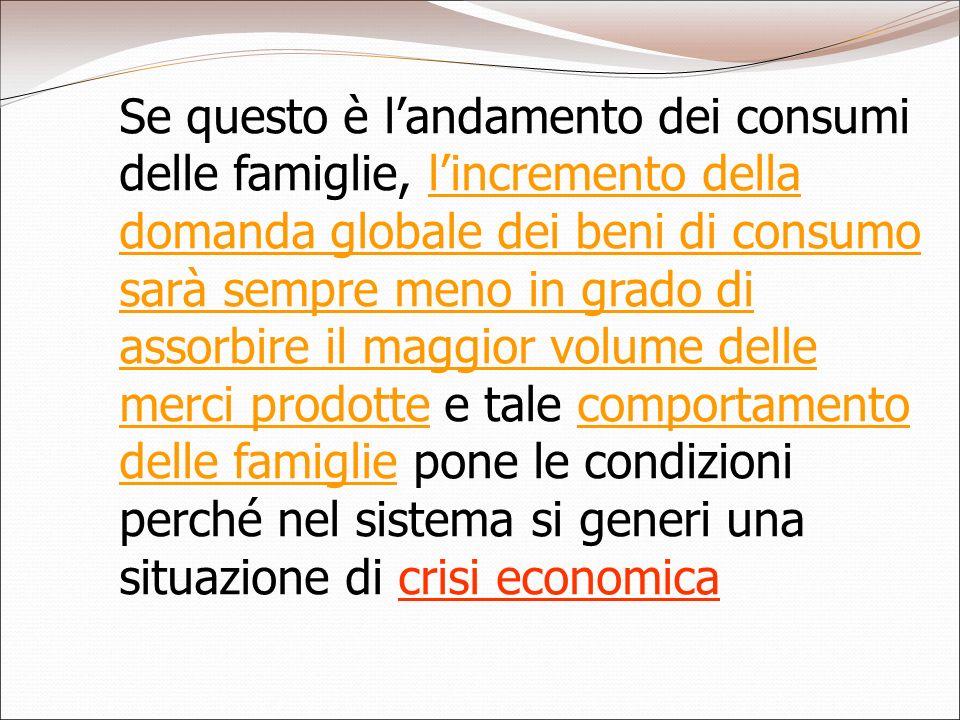 Se questo è l'andamento dei consumi delle famiglie, l'incremento della domanda globale dei beni di consumo sarà sempre meno in grado di assorbire il maggior volume delle merci prodotte e tale comportamento delle famiglie pone le condizioni perché nel sistema si generi una situazione di crisi economica