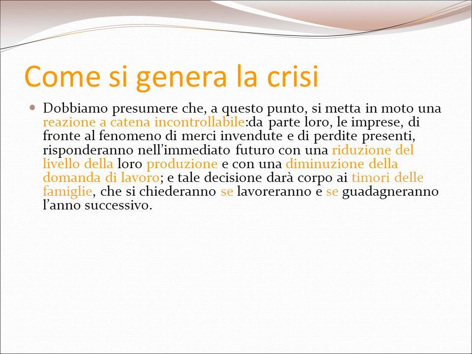 Come si genera la crisi