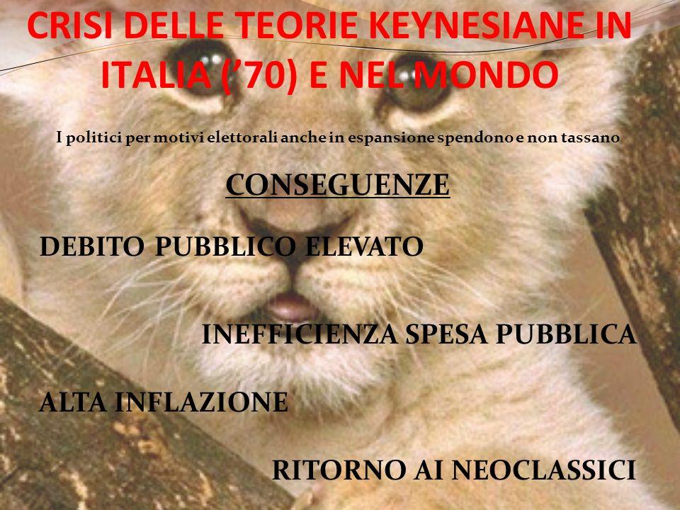 CRISI DELLE TEORIE KEYNESIANE IN ITALIA ('70) E NEL MONDO