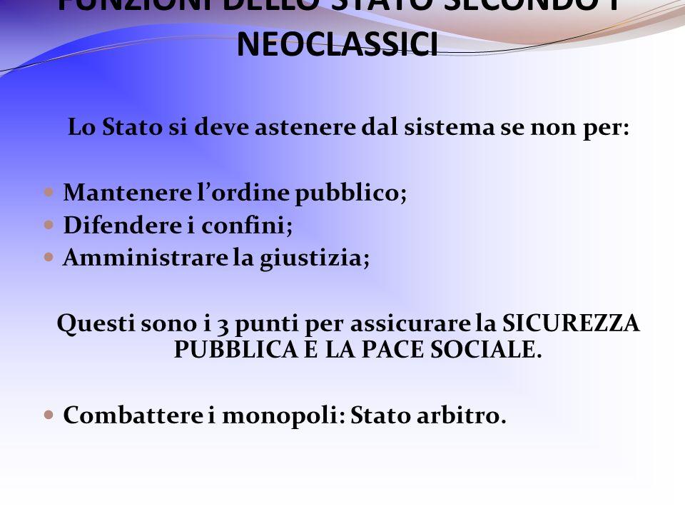 FUNZIONI DELLO STATO SECONDO I NEOCLASSICI