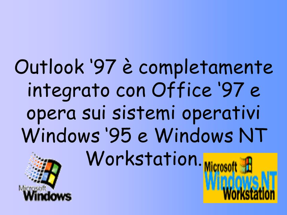 Outlook '97 è completamente integrato con Office '97 e opera sui sistemi operativi Windows '95 e Windows NT Workstation.