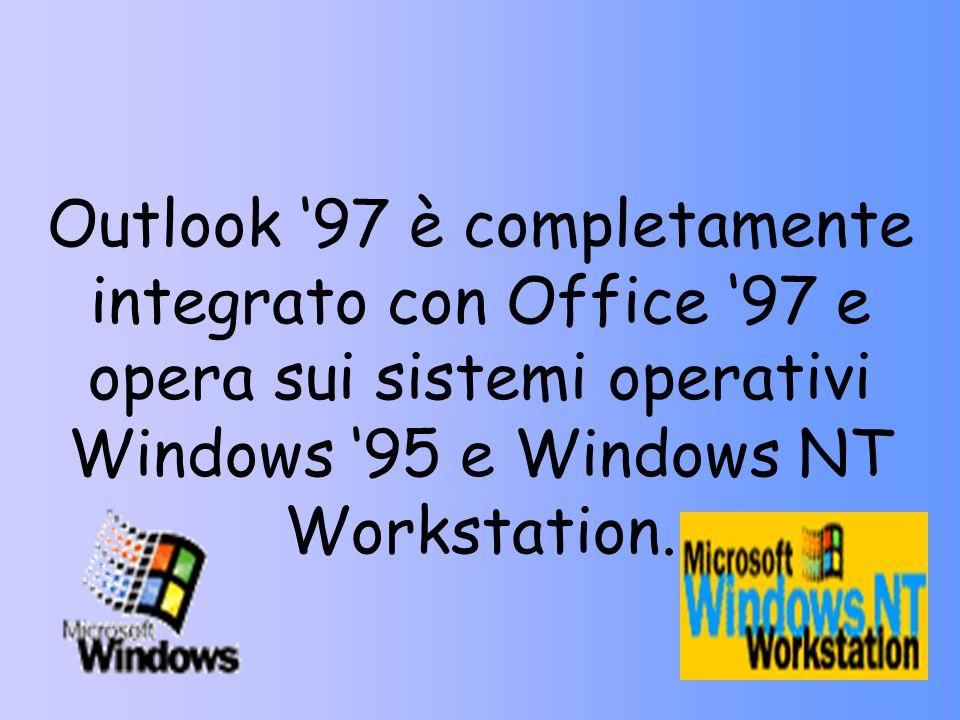 Outlook '97 è completamente integrato con Office '97 e opera sui sistemi operativi Windows '95 e Windows NT Workstation.