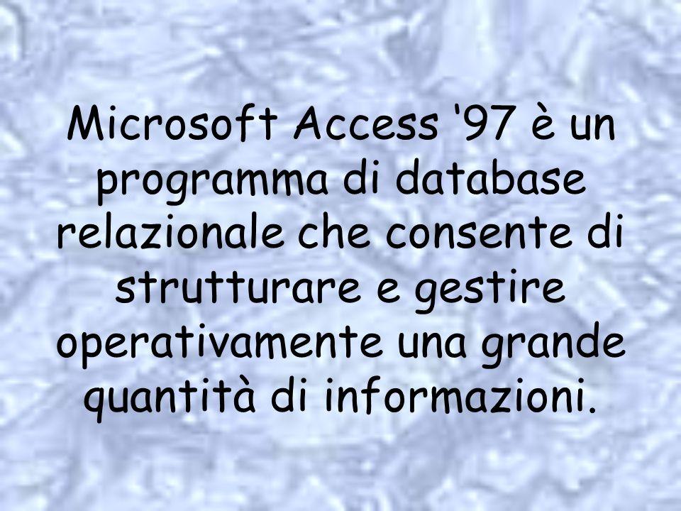 Microsoft Access '97 è un programma di database relazionale che consente di strutturare e gestire operativamente una grande quantità di informazioni.