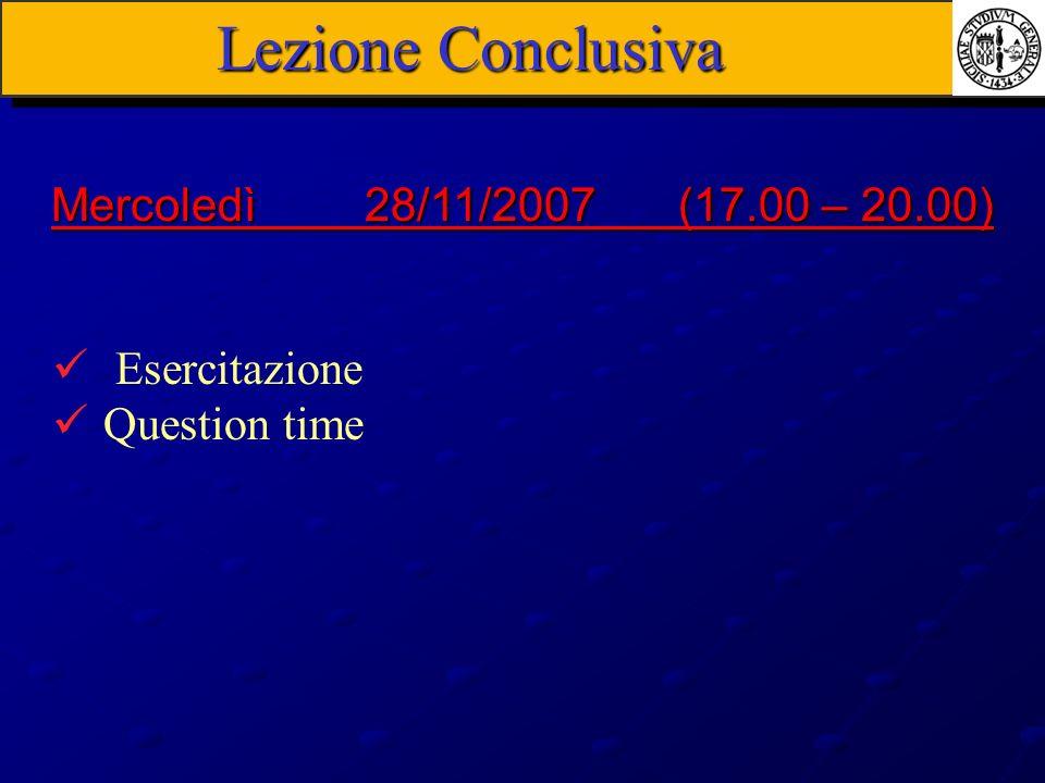 Lezione Conclusiva Mercoledì 28/11/2007 (17.00 – 20.00) Esercitazione