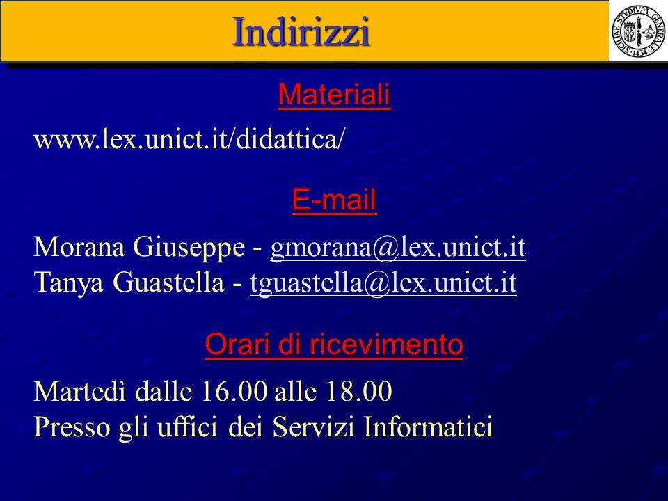 Indirizzi Materiali www.lex.unict.it/didattica/ E-mail