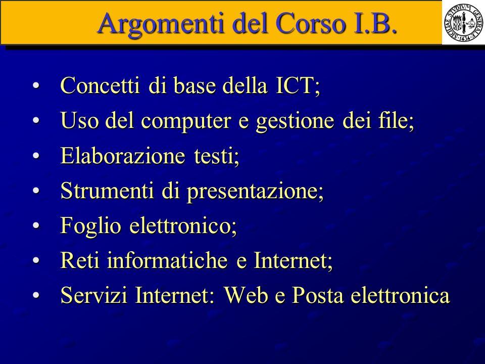 Argomenti del Corso I.B. Concetti di base della ICT;