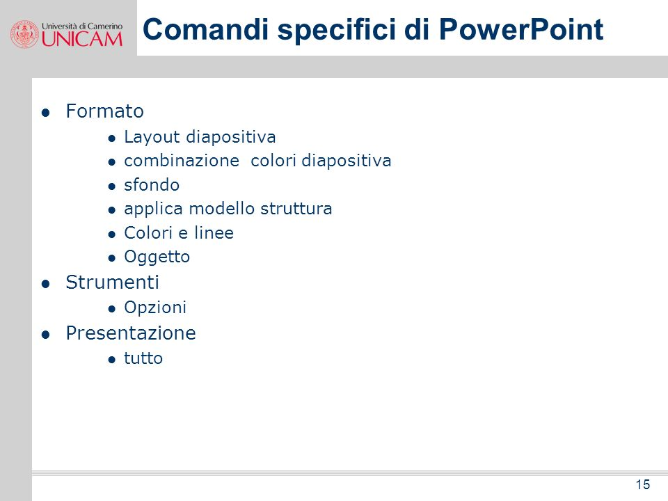 Comandi specifici di PowerPoint