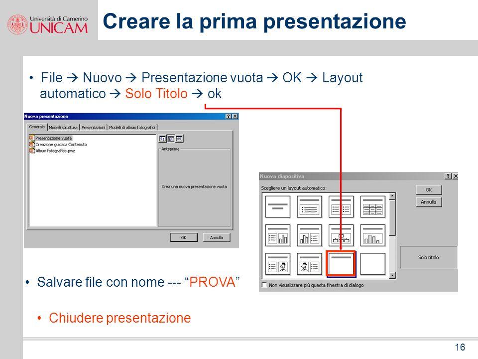 Creare la prima presentazione