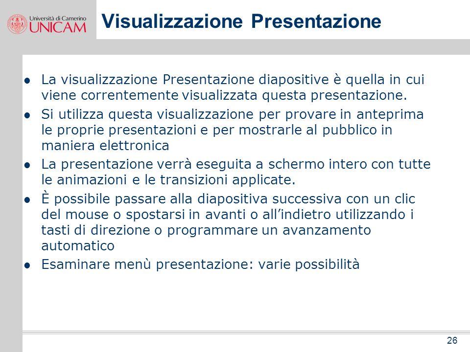 Visualizzazione Presentazione