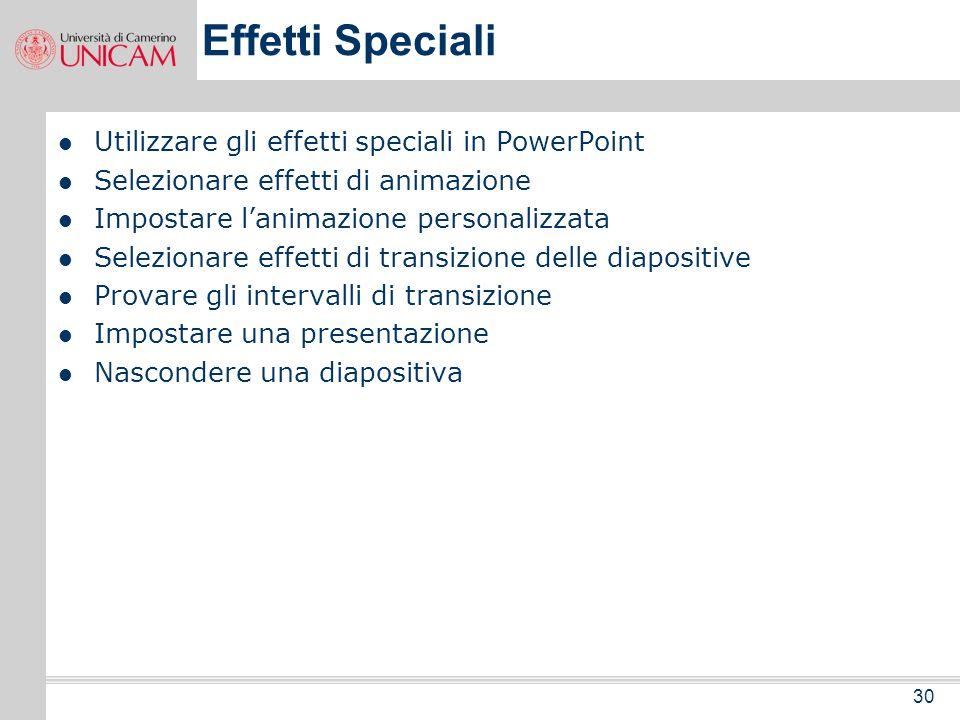 Effetti Speciali Utilizzare gli effetti speciali in PowerPoint