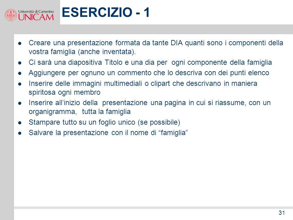 ESERCIZIO - 1 Creare una presentazione formata da tante DIA quanti sono i componenti della vostra famiglia (anche inventata).