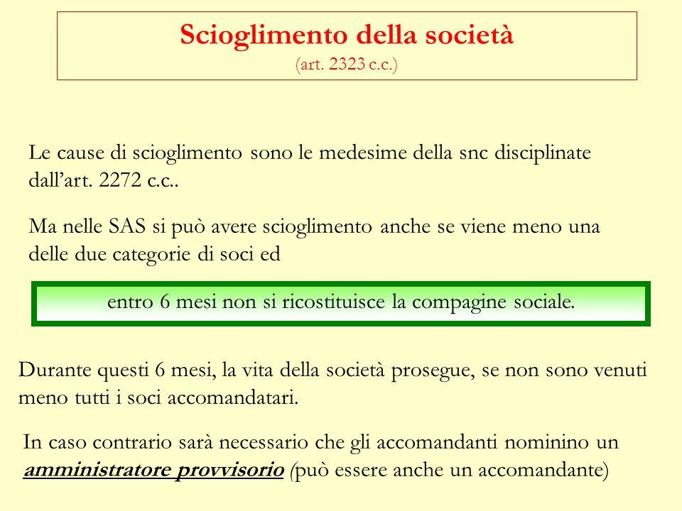 Scioglimento della società (art. 2323 c.c.)