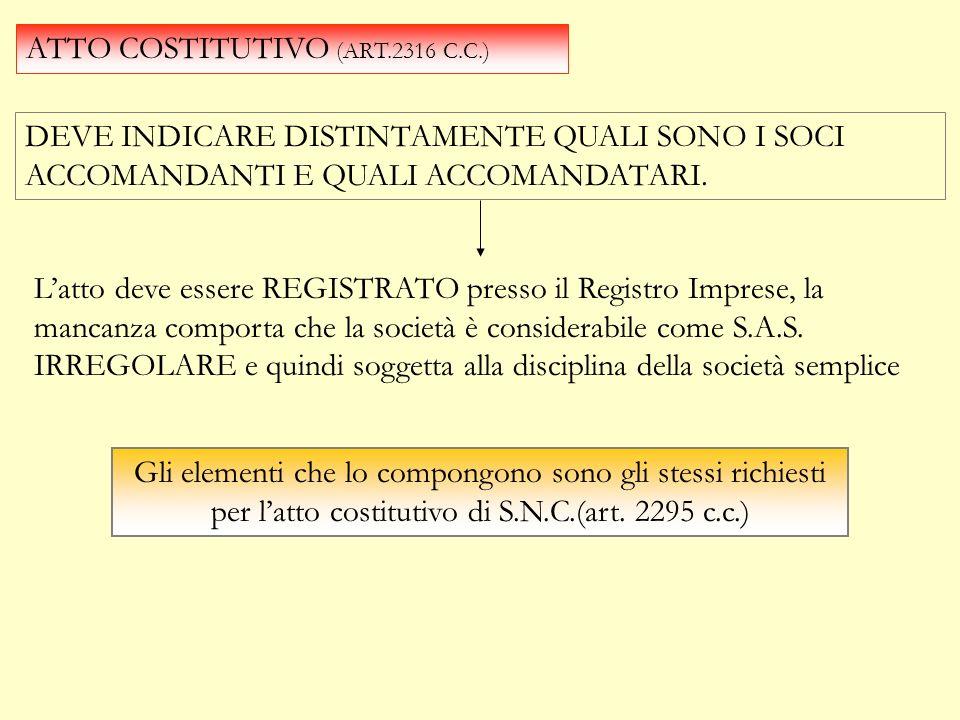 ATTO COSTITUTIVO (ART.2316 C.C.)