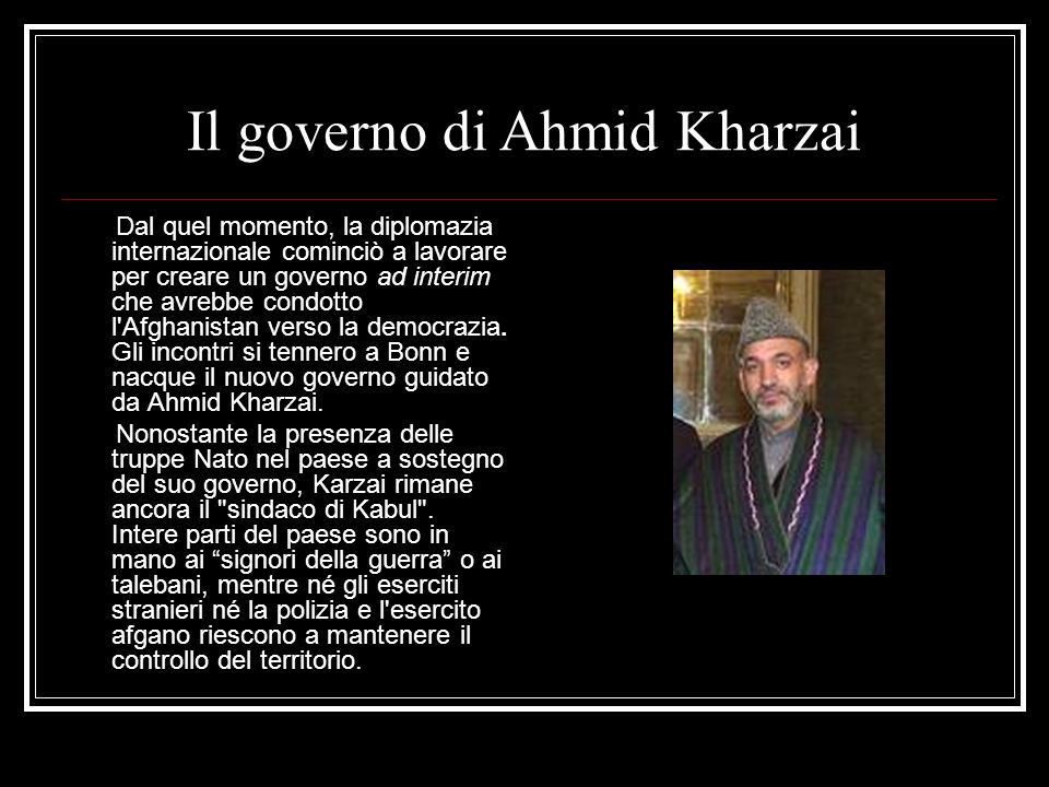 Il governo di Ahmid Kharzai