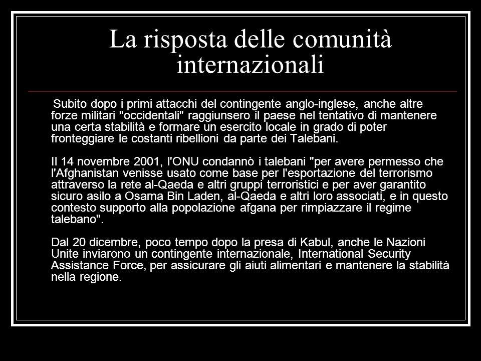 La risposta delle comunità internazionali