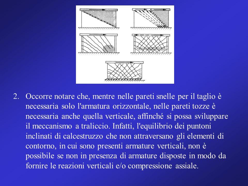 2. Occorre notare che, mentre nelle pareti snelle per il taglio è necessaria solo l armatura orizzontale, nelle pareti tozze è necessaria anche quella verticale, affinché si possa sviluppare il meccanismo a traliccio.