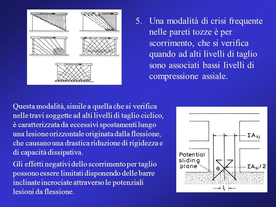 Una modalità di crisi frequente nelle pareti tozze è per scorrimento, che si verifica quando ad alti livelli di taglio sono associati bassi livelli di compressione assiale.