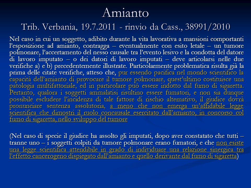 Amianto Trib. Verbania, 19.7.2011 - rinvio da Cass., 38991/2010