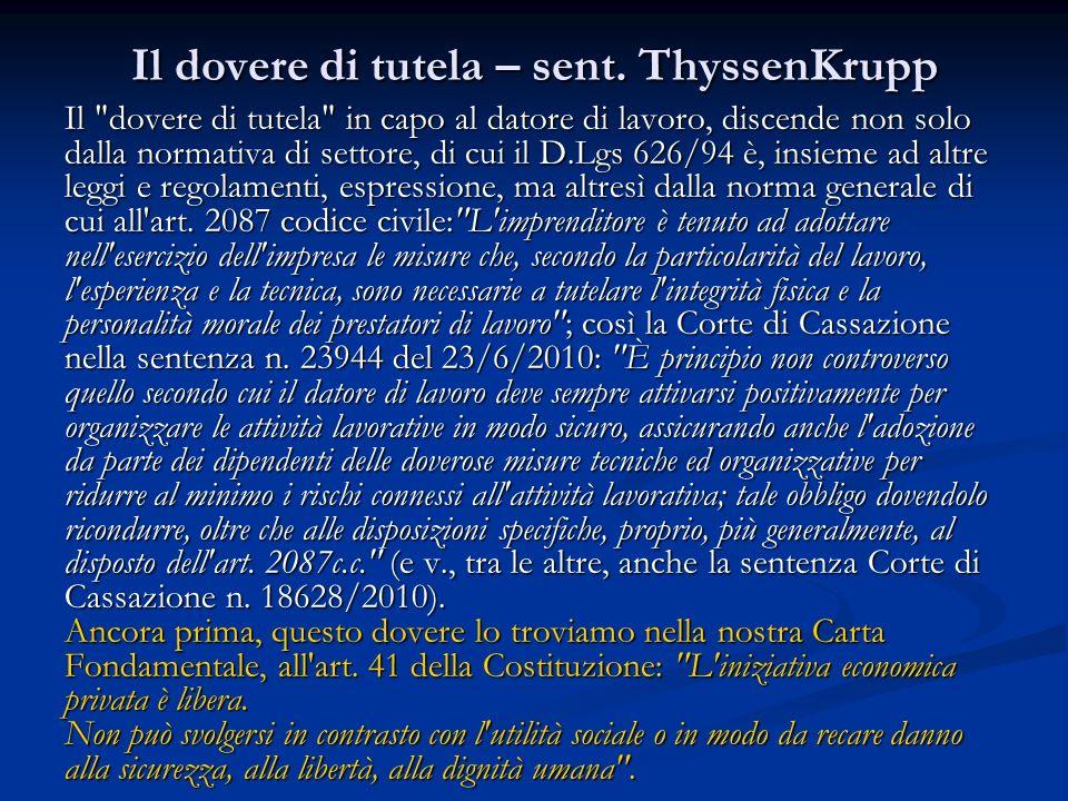 Il dovere di tutela – sent. ThyssenKrupp