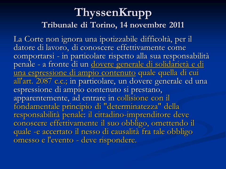 ThyssenKrupp Tribunale di Torino, 14 novembre 2011