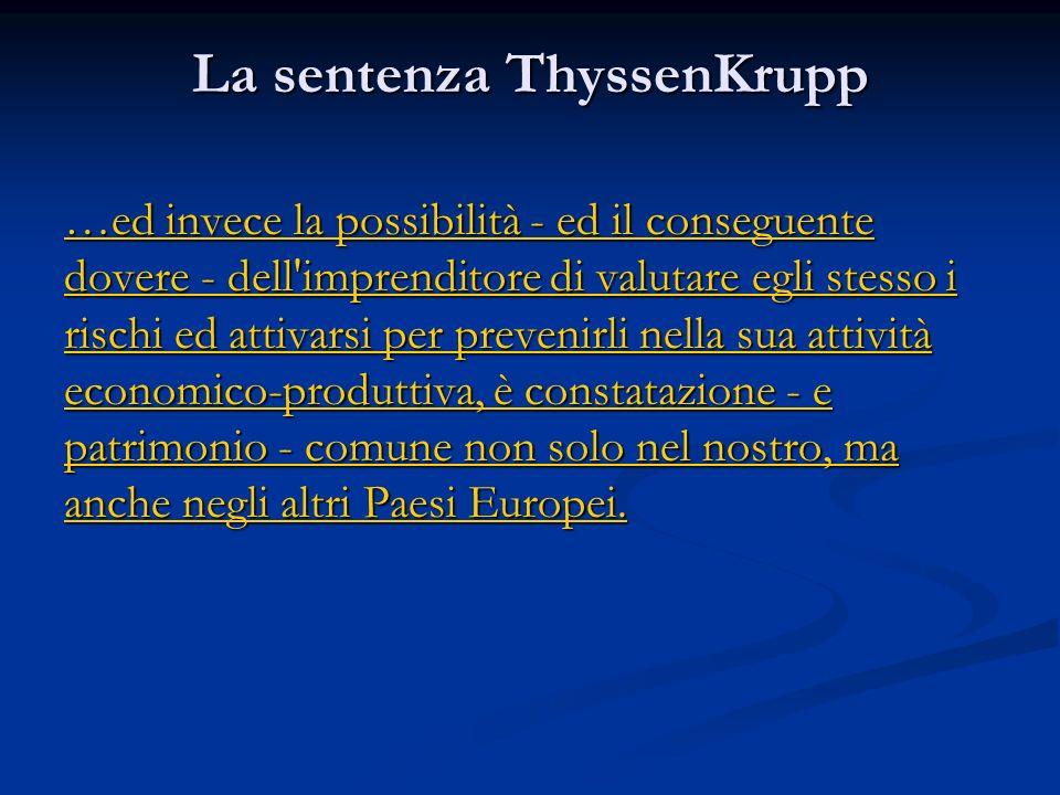 La sentenza ThyssenKrupp
