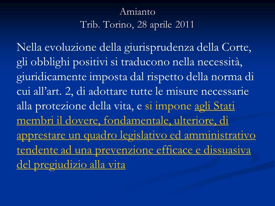 Amianto Trib. Torino, 28 aprile 2011