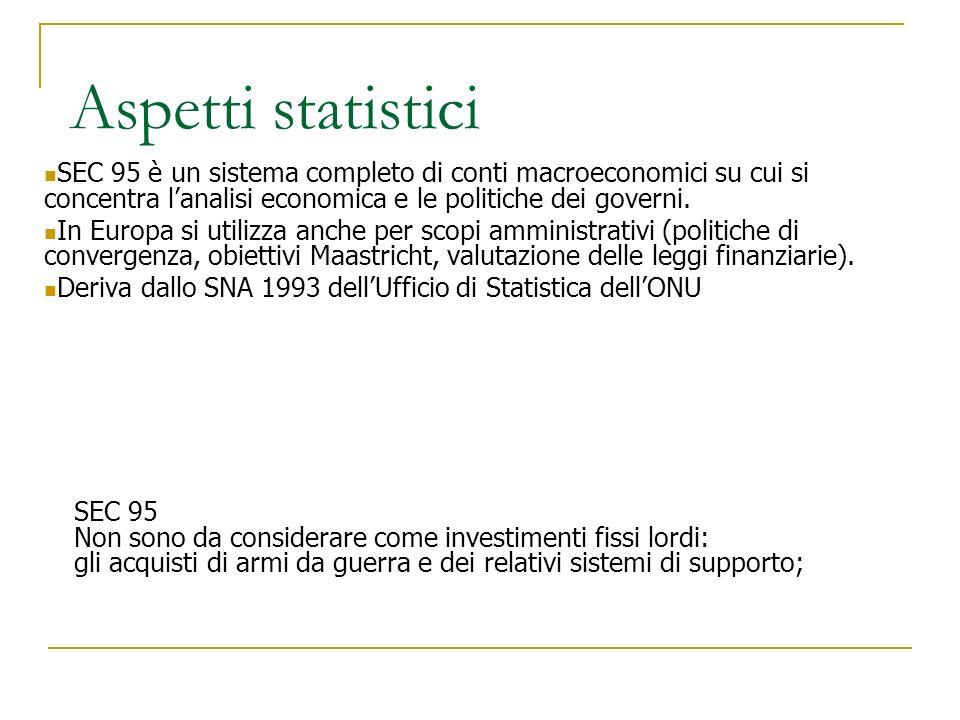 Aspetti statistici SEC 95 è un sistema completo di conti macroeconomici su cui si concentra l'analisi economica e le politiche dei governi.