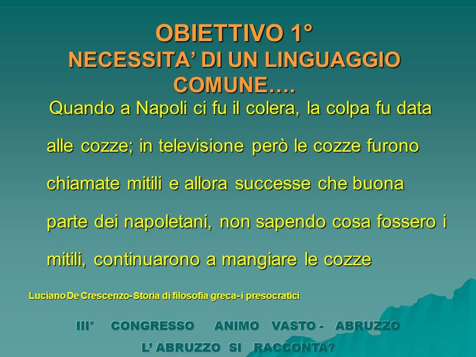 OBIETTIVO 1° NECESSITA' DI UN LINGUAGGIO COMUNE….