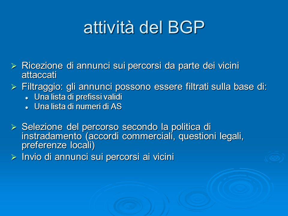attività del BGP Ricezione di annunci sui percorsi da parte dei vicini attaccati. Filtraggio: gli annunci possono essere filtrati sulla base di: