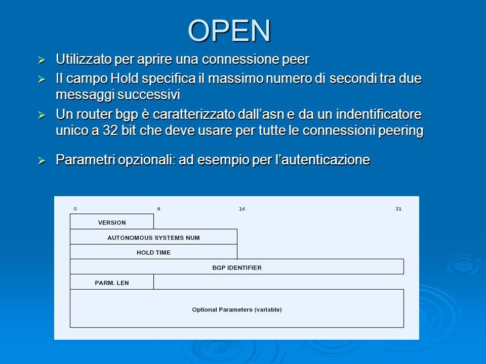 OPEN Utilizzato per aprire una connessione peer