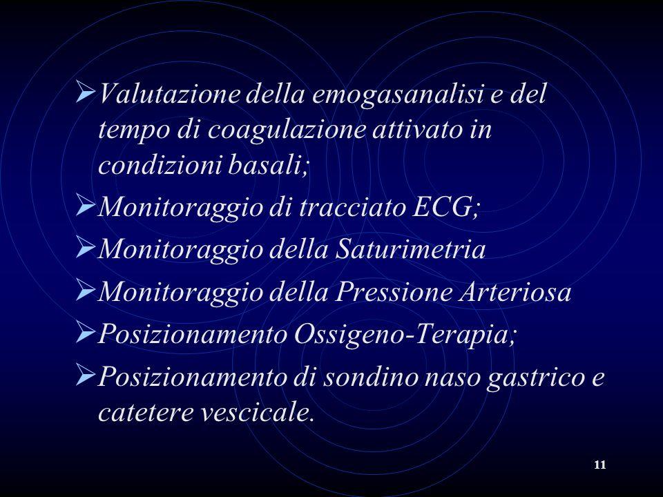 Valutazione della emogasanalisi e del tempo di coagulazione attivato in condizioni basali;