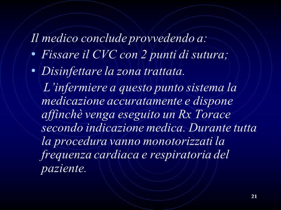 Il medico conclude provvedendo a: