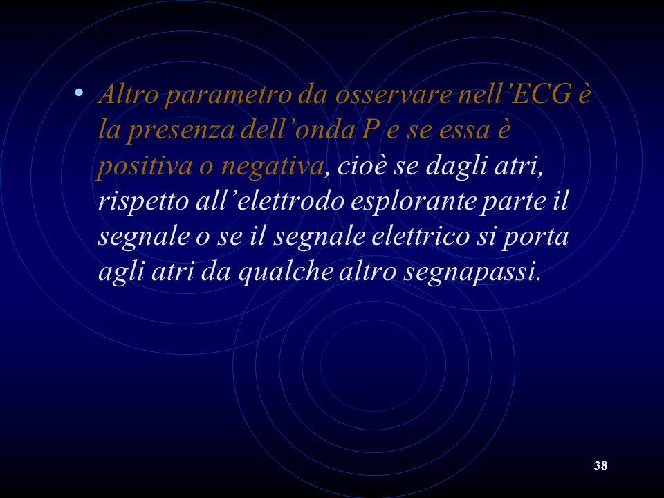 Altro parametro da osservare nell'ECG è la presenza dell'onda P e se essa è positiva o negativa, cioè se dagli atri, rispetto all'elettrodo esplorante parte il segnale o se il segnale elettrico si porta agli atri da qualche altro segnapassi.