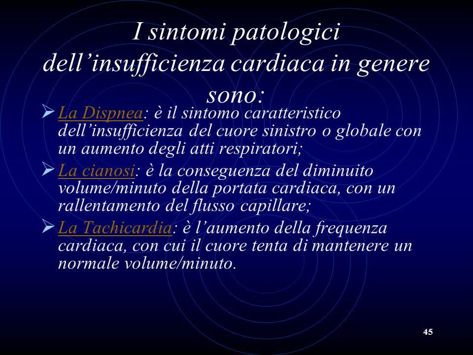 I sintomi patologici dell'insufficienza cardiaca in genere sono:
