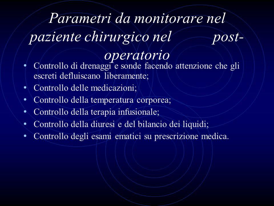 Parametri da monitorare nel paziente chirurgico nel post-operatorio