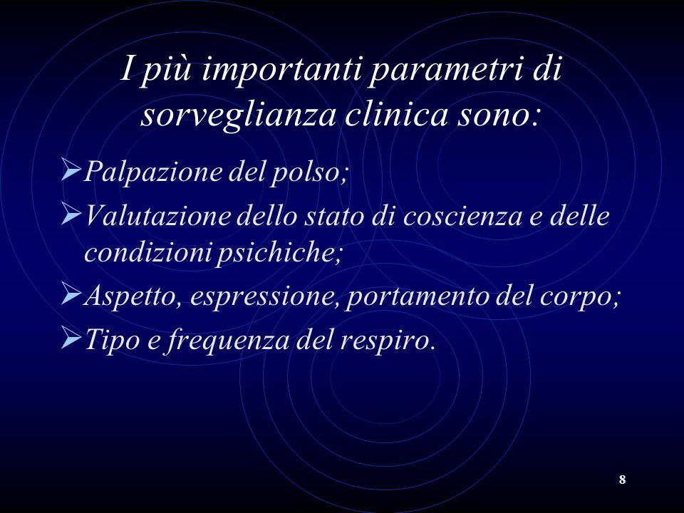 I più importanti parametri di sorveglianza clinica sono:
