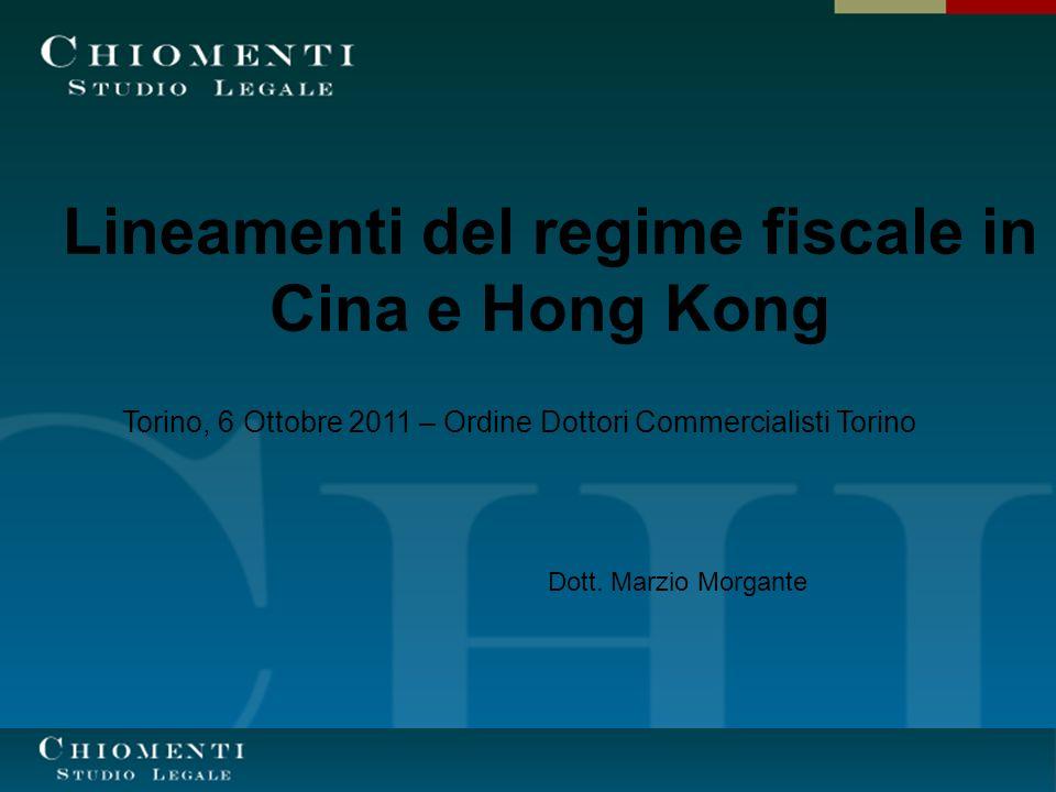 Lineamenti del regime fiscale in Cina e Hong Kong