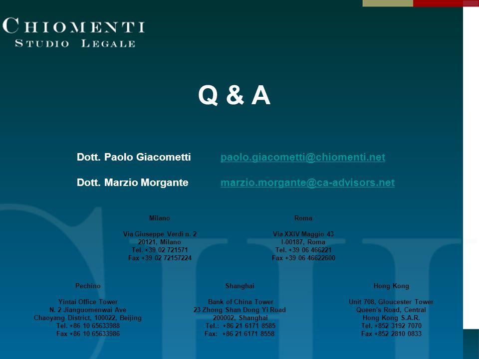 Q & A Dott. Paolo Giacometti paolo.giacometti@chiomenti.net
