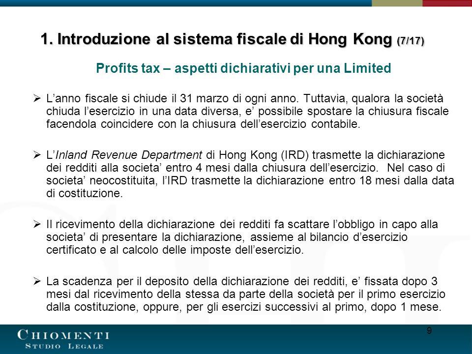 1. Introduzione al sistema fiscale di Hong Kong (7/17)