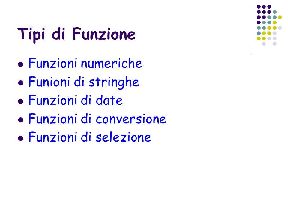 Tipi di Funzione Funzioni numeriche Funioni di stringhe